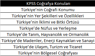 KPSS Coğrafya Konuları